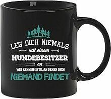 Geschenkidee Geburtstag Kaffeetasse Kaffeebecher mit Hundebesitzer - wir kennen Orte Motiv, Größe: onesize,Schwarz