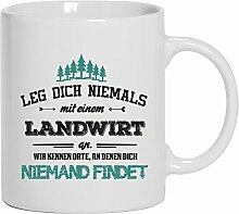 Geschenkidee Geburtstag Kaffeetasse Kaffeebecher mit Landwirt - wir kennen Orte Motiv, Größe: onesize,Weiß