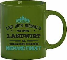 Geschenkidee Geburtstag Kaffeetasse Kaffeebecher mit Landwirt - wir kennen Orte Motiv, Größe: onesize,grün