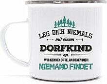 Geschenkidee Geburtstag Metalltasse Emaille Kaffee Becher mit Motiv Tasse Dorfkind - wir kennen Orte, Größe: onesize,weiß/silber
