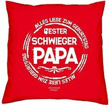 Geschenkidee Geburtstag Vater-Schwieger-Papa Bester Schwiegerpapa :-: Weihnachtsgeschenk :-: Kissen mit Füllung als Geburtstagsgeschenk Farbe:ro