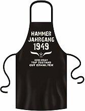 Geschenkidee Grillschürze Kochschürze Hammer Jahrgang 1949 zum 69. Geburtstag Frauen Männer Einheitsgröße Farbe:schwarz
