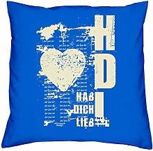 Geschenkidee Hab Dich lieb Kissen und Füllung Deko 40x40 zum Geburtstag Farbe:royal-blau