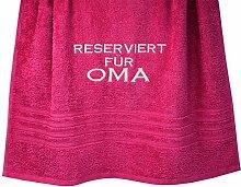 """Geschenkidee Handtuch Rot """"Reserviert für Oma"""" Größe: 70x140 cm"""