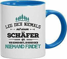 Geschenkidee Hirte Kaffeetasse 2-farbige Tasse Schäfer - wir kennen Orte, Größe: onesize,weiß/hellblau