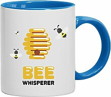 Geschenkidee Imker Bienen Kaffeetasse 2-farbige Tasse Bee Whisperer, Größe: onesize,weiß/hellblau