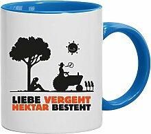 Geschenkidee Landwirt Kaffeetasse 2-farbige Liebe vergeht, Hektar besteht, Größe: onesize,weiß/hellblau