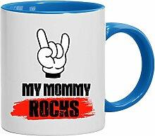 Geschenkidee Mama Muttertags Kaffeetasse 2-farbige Tasse My Mommy Rocks, Größe: onesize,weiß/hellblau