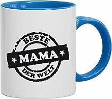 Geschenkidee Muttertags Kaffeetasse 2-farbige Tasse Beste Mama der Welt Stempel, Größe: onesize,weiß/hellblau