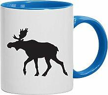 Geschenkidee Norwegen Schweden Fan Kaffeetasse 2-farbige ELCH, Größe: onesize,weiß/hellblau