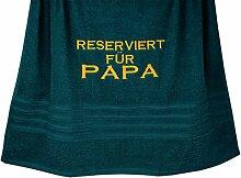 """Geschenkidee Papa: Duschtuch 70x140 cm """"Reserviert für Papa"""" besticktes Handtuch Opal – Grün"""