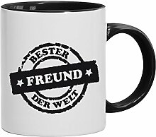 Geschenkidee Valentinstags Kaffeetasse 2-farbige Tasse Bester Freund der Welt Stempel, Größe: onesize,weiß/schwarz