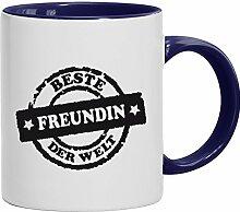 Geschenkidee Valentinstags Kaffeetasse 2-farbige Tasse Beste Freundin der Welt Stempel, Größe: onesize,weiß/blau