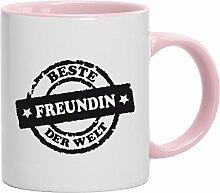 Geschenkidee Valentinstags Kaffeetasse 2-farbige Tasse Beste Freundin der Welt Stempel, Größe: onesize,weiß/rosa