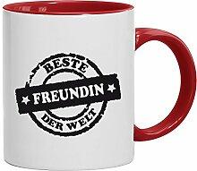 Geschenkidee Valentinstags Kaffeetasse 2-farbige Tasse Beste Freundin der Welt Stempel, Größe: onesize,weiß/ro