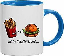 Geschenkidee Valentinstags Kaffeetasse 2-farbige Tasse Fries + Burger, Größe: onesize,weiß/hellblau