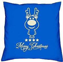 Geschenkidee Weihnachten Frauen Mutter Mama Männer Papa Vater Christmas :-: Weihnachtsgeschenk :-: Kissen mit Füllung als Geburtstagsgeschenk Farbe:royal-blau