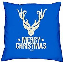 Geschenkidee Weihnachten Frauen Mutter Mama Männer Papa Vater Merry Christmas :-: Weihnachtsgeschenk :-: Kissen mit Füllung als Geburtstagsgeschenk Farbe:royal-blau
