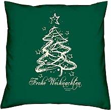 Geschenkidee Weihnachten Frauen Mutter Mama Männer Papa Vater Frohe Weihnachten Valentinstagsgeschenk Kissen mit Füllung Farbe:dunkelgrün
