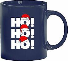 Geschenkidee Weihnachten Kaffeetasse Kaffeebecher mit Ho Ho Ho! Motiv, Größe: onesize,blau