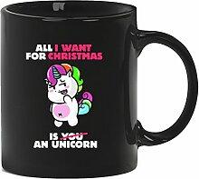 Geschenkidee Weihnachten Kaffeetasse Kaffeebecher mit Unicorn Christmas Motiv, Größe: onesize,Schwarz