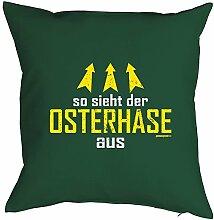 Geschenkidee zu Ostern Fun Kissen mit Füllung: Der mit dem Hasen spricht - Farbe: Dunkel-Grün - Goodman Design ®