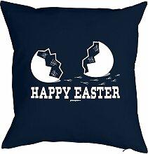 Geschenkidee zu Ostern Fun Kissen mit Füllung: Happy Easter Osterei Frohe Ostern- Farbe: Navy-Blau- Goodman Design ®
