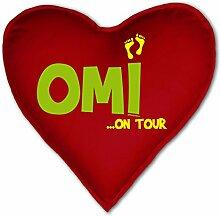Geschenkidee zu Weihnachten-Geburtstag-Muttertag - Ausgefallenes Herzkissen (inkl.Füllung) mit Oma-Motiv: Omi ? on Tour