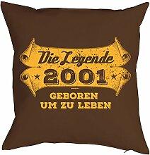 Geschenkidee zum 17 Geburtstag Kissen mit Füllung Die Legende 2001 geboren um zu leben Polster zum 17. Geburtstag für 17-jähirge Dekokissen