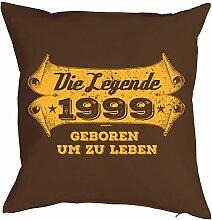 Geschenkidee zum 19 Geburtstag Kissen mit Füllung Die Legende 1999 geboren um zu leben Polster zum 19. Geburtstag für 19-jähirge Dekokissen