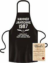 Geschenkidee zum 30. Geburtstag :-: Hammer Jahrgang 1987 :-: Schürze Kochschürze Grillschürze mit Jahreszahl Sprüche Aufdruck :-: Farbe: schwarz für Damen & Herren dazu gratis Geburtstags-Urkunde