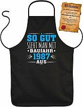 Geschenkidee zum 30. Geburtstag Grillschürze 30 Jahre Geschenk Grill Schürze Freund Kochschürze Latzschürze Partyschürze Küche So gut sieht man mit Baujahr 1987 aus