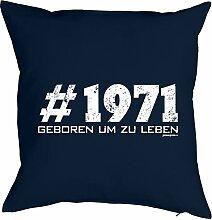 Geschenkidee zum 46 Geburtstag Kissen #1971 geboren um zu leben Polster zum 46. Geburtstag für 46-jähirge Dekokissen