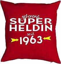 Geschenkidee zum 55 Geburtstag Kissen mit Füllung geborene Super Heldin seit 1963 Polster zum 55. Geburtstag für 55-jähirge Dekokissen
