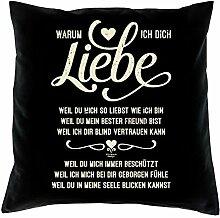 Geschenkidee zum Geburtstag :-: Deko Sofa Kissen mit Füllung :-: Warum ich Dich liebe :-: oder als Geburtstags-Muttertags-Vatertags-Geschenk Familie Freunde :-: Farbe: schwarz