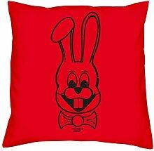 Geschenkidee zum Geburtstag für Kinder und Erwachsene für Sie und Ihn :-: Hase :-: Deko-Kissen mit Füllung :-: Geschenkidee für Frauen und Männer :-: Farbe: ro