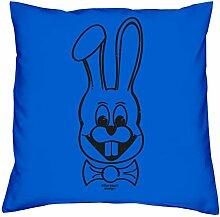 Geschenkidee zum Geburtstag für Kinder und Erwachsene für Sie und Ihn :-: Hase :-: Deko-Kissen mit Füllung :-: Geschenkidee für Frauen und Männer :-: Farbe: royal-blau