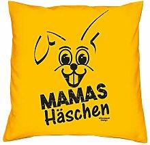 Geschenkidee zum Geburtstag für Kinder und Erwachsene für Sie und Ihn :-: Mamas Häschen :-: Deko-Kissen mit Füllung :-: Geschenkidee für Frauen und Männer :-: Farbe: gelb