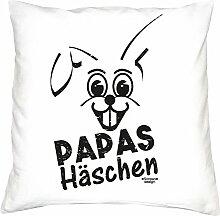 Geschenkidee zum Geburtstag für Kinder und Erwachsene für Sie und Ihn :-: Papas Häschen :-: Deko-Kissen mit Füllung :-: Geschenkidee für Frauen und Männer :-: Farbe: weiss
