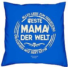 Geschenkidee zum Geburtstag Muttertag :-: Deko Sofa Kissen mit Füllung :-: Beste Mama der Welt :-: Geburtstagsüberraschung Mutter :-: Farbe: royal-blau