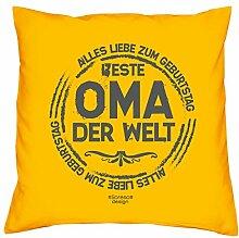 Geschenkidee zum Geburtstag Muttertag :-: Deko Sofa Kissen mit Füllung :-: Beste Oma der Welt :-: Geburtstagsüberraschung Großmutter :-: Farbe: gelb
