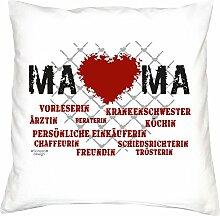 Geschenkidee zum Geburtstag Muttertag :-: Deko Sofa Kissen mit Füllung :-: Herz Mama :-: oder als Geburtstags-Muttertags-Geschenk Mutter :-: Farbe: weiss
