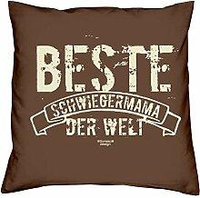 Geschenkidee zum Geburtstag Muttertag :-: Deko Sofa Kissen mit Füllung :-: Beste Schwiegermama der Welt :-: oder als Geburtstags-Muttertags-Geschenk Mutter :-: Farbe: braun