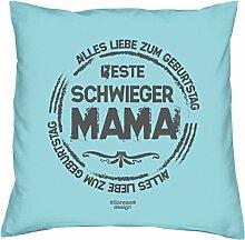 Geschenkidee zum Geburtstag Muttertag :-: Deko Sofa Kissen mit Füllung :-: Beste Schwiegermama :-: Geburtstagsüberraschung Schwiegermutter :-: Farbe: hellblau