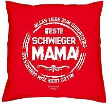 Geschenkidee zum Geburtstag Muttertag :-: Deko Sofa Kissen mit Füllung :-: Beste Schwiegermama :-: Geburtstagsüberraschung Schwiegermutter :-: Farbe: ro