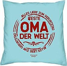 Geschenkidee zum Geburtstag Muttertag :-: Deko Sofa Kissen mit Füllung :-: Beste Oma der Welt :-: Geburtstagsüberraschung Großmutter :-: Farbe: hellblau