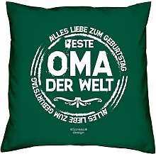 Geschenkidee zum Geburtstag Muttertag :-: Deko Sofa Kissen mit Füllung :-: Beste Oma der Welt :-: Geburtstagsüberraschung Großmutter :-: Farbe: dunkelgrün