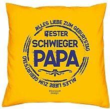 Geschenkidee zum Geburtstag Vatertag :-: Deko Sofa Kissen mit Füllung :-: Bester Schwiegerpapa :-: Geburtstagsüberraschung Schwiegervater :-: Farbe: gelb