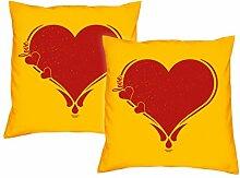 Geschenkidee zum Muttertag, Vatertag, Kissen, Dekokissen Herz für Sie und Ihn im 2er Pack