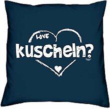 Geschenkidee zum Valentinstag - kuscheln - Romantisches Geschenk Valentinstagsgeschenk für Frauen & Männer- Kissen mit Füllung Farbe: navy-blau